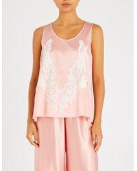 Rosamosario Lace-trimmed Silk-satin Pyjama Top - Pink