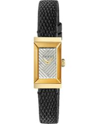 Gucci - Ya147507 G-frame Lizard-leather And Yellow-gold Pvd Watch - Lyst