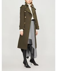 Burberry Protective Womens Dark Military Khaki Green Check The Heritage Long Westminster Cotton Trench Coat