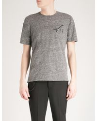 The Kooples - Guitar Embroidered And Pin-detail Cotton-blend T-shirt - Lyst