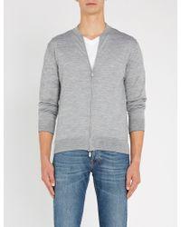 Eleventy - Zipped Wool And Silk-blend Jumper - Lyst