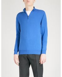 Canali - Zip-up Knitted Cotton Jumper - Lyst