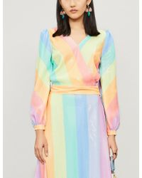 Olivia Rubin - Kendall Rainbow-striped Wrap-over Sequinned Blouse - Lyst