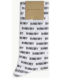 Burberry - Repeated Logo Cotton-blend Socks - Lyst