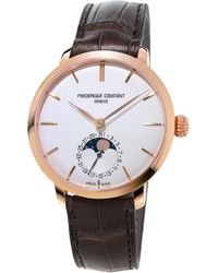 Frederique Constant - Fc-703v3s4 Classics Manufacture Slimline Moonphase Rose Gold-plated And Alligator-leather Watch - Lyst