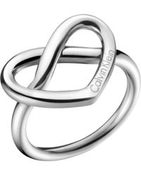 Calvin Klein - Charming Stainless Steel Knotted Heart Ring - Lyst