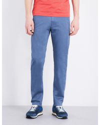 BOSS Green - Slim-fit Tapered Cotton-blend Trousers - Lyst