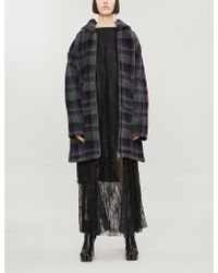 MM6 by Maison Martin Margiela - Checked Hooded Jersey Coat - Lyst