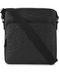 MCM | Mens Black Embossed Luxury Otto Monogram Small Coated Canvas Messenger | Lyst