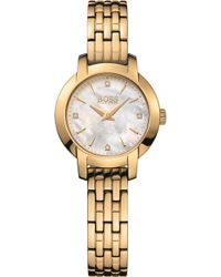 BOSS - Success Mother-of-pearl And Yellow-gold Pvd Watch - Lyst