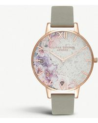 Olivia Burton - Ob16sp04 Collectables Semi-precious Big Dial Rose-gold And Leather Watch - Lyst