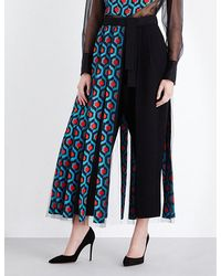 Delpozo - Tulle Overlay High-rise Wool Trousers - Lyst