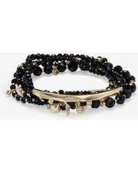 Kendra Scott - Supak 14ct Gold-plated And Black Spinnel Beaded Bracelet - Lyst