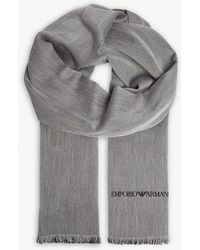 Emporio Armani - Solid Silk And Wool Scarf - Lyst