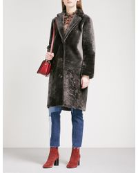 Sandro | Single-breasted Shearling Coat | Lyst