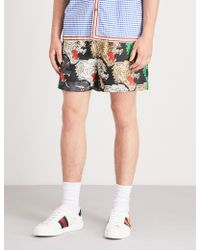 Gucci - Panther-print Silk-twill Shorts - Lyst