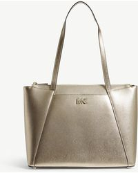 MICHAEL Michael Kors - Maddie Metallic Leather Tote Bag - Lyst