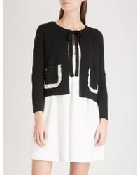 Claudie Pierlot - Frilled-trim Wool-blend Cardigan - Lyst