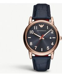 Emporio Armani - Ar11135 Luigi Rose Gold-plated And Crocodile-embossed Leather Strap Watch - Lyst