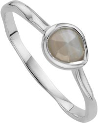 Monica Vinader - Siren Sterling Silver And Grey Agate Small Stacking Ring - Lyst