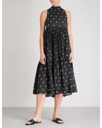 Asceno - Polka Dot Silk-crepe De Chine Dress - Lyst