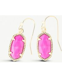 Kendra Scott - Lee 14ct Gold And Magenta Magnesite Earrings - Lyst