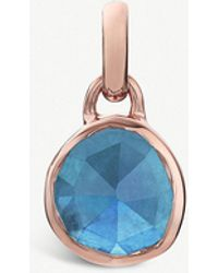Monica Vinader - Siren Mini 18ct Rose-gold Vermeil And Kyanite Bezel Pendant - Lyst