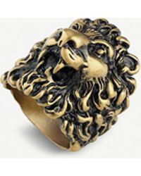 Gucci - Lion Head Aged Metal Ring - Lyst