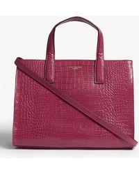 Kurt Geiger - Fuchsia Pink Crocodile Embossed Leather Tote Bag - Lyst
