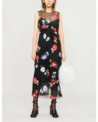 Simone Rocha - Floral-embroidered Mesh Midi Dress - Lyst