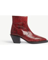 The Kooples - Fake-python Leather Boots - Lyst