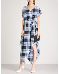 Diane von Furstenberg - Checked Silk Wrap Dress - Lyst