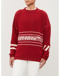 Off-White c/o Virgil Abloh - Logo Stripe Intarsia Wool Jumper - Lyst
