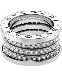 BVLGARI - B.zero1 Four-band 18kt White-gold And Diamond Ring - Lyst