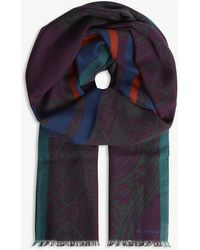 Etro - Aztec Paisley Print Wool Scarf - Lyst