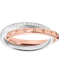 Thomas Sabo | Together Interlocking Sterling Silver And Diamond Ring | Lyst