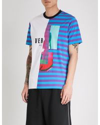Versus - Contrasting Striped Cotton-jersey T-shirt - Lyst