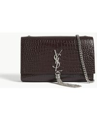 Saint Laurent - Kate Monogram Medium Crocodile-embossed Leather Shoulder Bag - Lyst