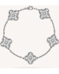 Van Cleef & Arpels - Vintage Alhambra Gold And Diamond Bracelet - Lyst
