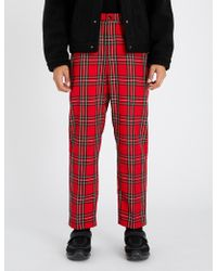 Stussy - Bryan Tartan-checked Relaxed-fit Mid-rise Woven Trousers - Lyst