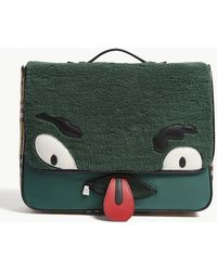 Burberry - Monster Faux-shearling And Vintage Check Satchel - Lyst