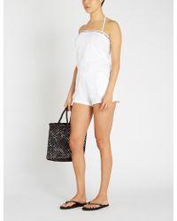Calvin Klein - Bandeau Cotton-jersey Playsuit - Lyst