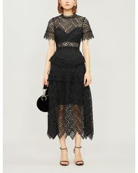 Self-Portrait - Abstract Triangle-lace Midi Dress - Lyst