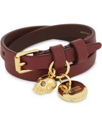 Alexander McQueen - Double-wrap Skull Leather Bracelet - Lyst