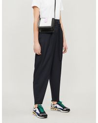 Maje - High-rise Tapered Crepe Trousers - Lyst