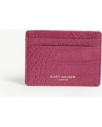 Kurt Geiger - Croc Embossed Leather Card Holder - Lyst