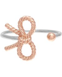 Olivia Burton - Bow Sterling Silver And 18ct Rose Gold-plated Ring - Lyst