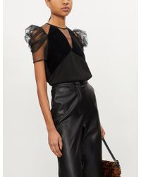 Pinko - Lucidatrice Puffed-sleeve Crepe Blouse - Lyst