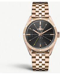 Vivienne Westwood - Vv192bkrs Conduit Gold-toned Stainless Steel Watch - Lyst