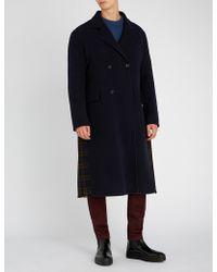 Loewe - Contrast Check-panel Wool-blend Coat - Lyst